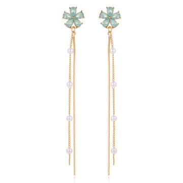 晶鑽花朵珍珠流蘇 無耳洞黏貼式耳環