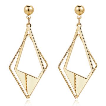 個性時尚幾何立體菱形 耳針/無耳洞黏貼式耳環