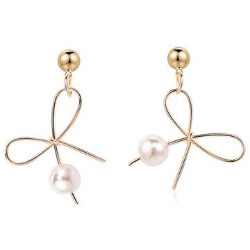 氣質簡約不對稱蝴蝶結珍珠 耳針/無耳洞黏貼式耳環