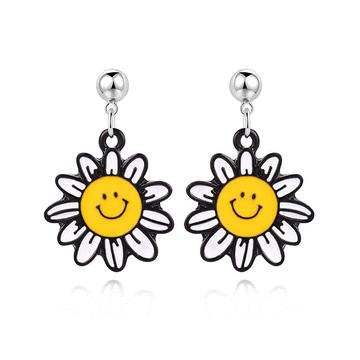 笑臉陽光向日葵 黏式耳環