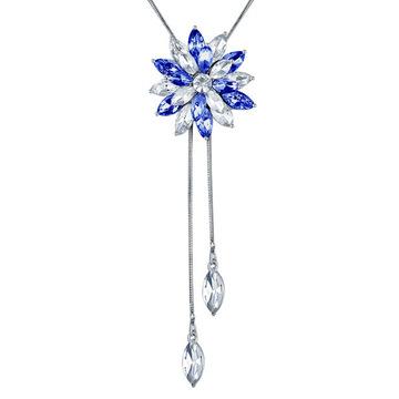 清透藍白水晶花毛衣項鍊