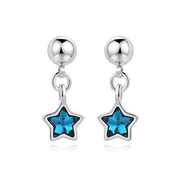 清新蔚藍五角星 耳針/黏式耳環
