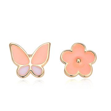 花與蝴蝶不對稱黏式耳環