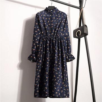 復古立領小碎花燈芯絨連衣裙