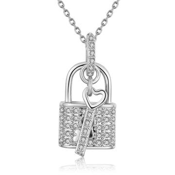 守護愛情鑰匙鎖微鑲鑽合金項鍊