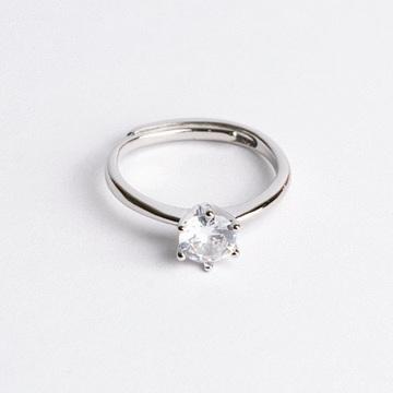 時尚簡約六爪亮鑽開口戒指(4mm)