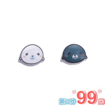 【 第2件99元】黑白海獺熱縮片 無耳洞黏貼式耳環