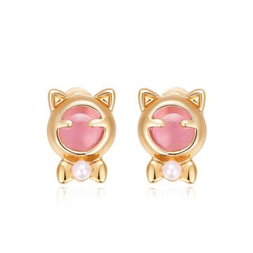 療癒系貓耳珍珠黏式耳環