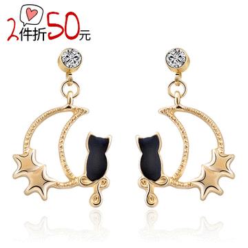 【2件折50元】可愛星月黑貓 耳針/無耳洞黏貼式耳環