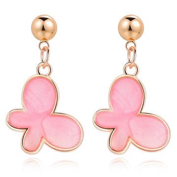 清新氣質粉嫩蝴蝶 無耳洞黏貼式耳環