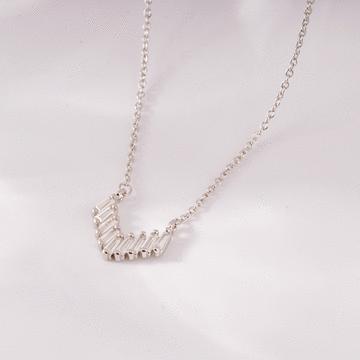 清新時尚幾何心形鑲鑽項鍊