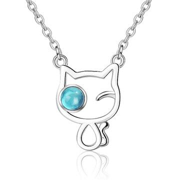 森系女孩水晶小貓項鍊