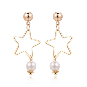 童趣簍空星星珍珠黏式耳環