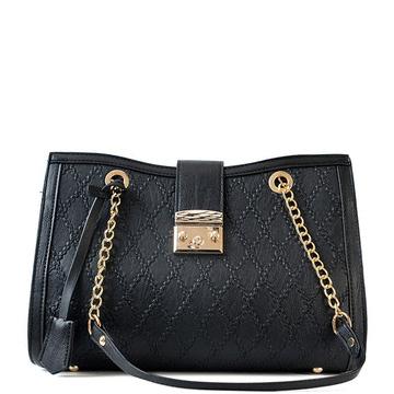 韓版菱格繡線大容量手提包