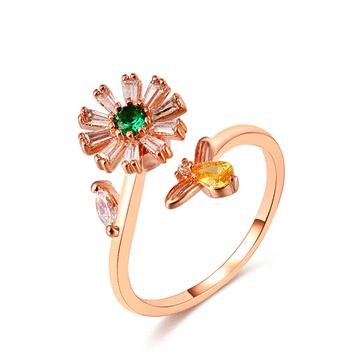 旋轉花朵蜜蜂鑲鑽開口戒指