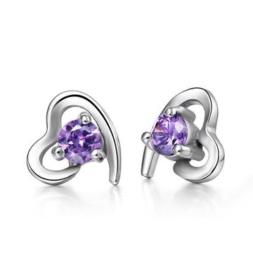 璀璨愛情紫水晶 耳針/黏式耳環