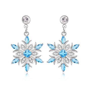 冷豔冰藍雪花 耳針/黏式耳環