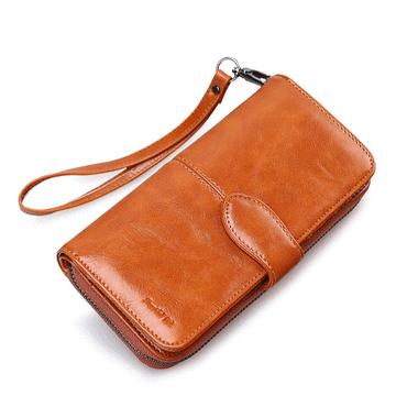 韓系簡約微光感拉鍊大容量長夾手拿包