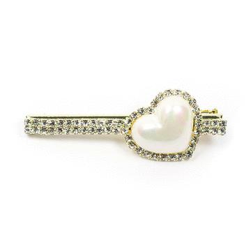 氣質珍珠愛心亮鑽髮夾