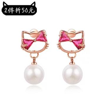 【2件折50元】日系小貓珍珠鑲鑽 耳針/黏式耳環