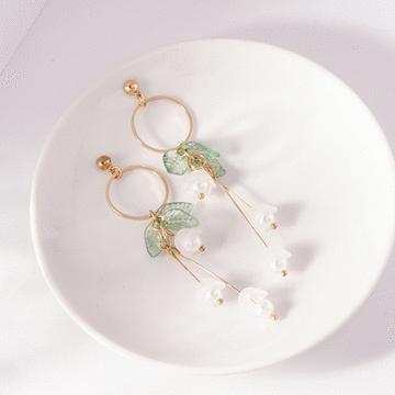 文藝清新花朵 耳針/無耳洞黏貼式耳環