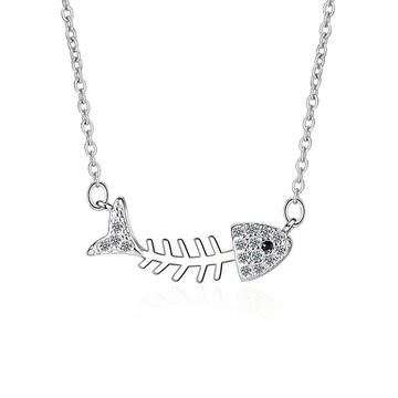 個性萌趣鑲鑽魚骨頭合金項鍊