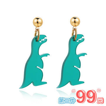 【 第2件99元】搞怪壓克力恐龍 無耳洞黏貼式耳環