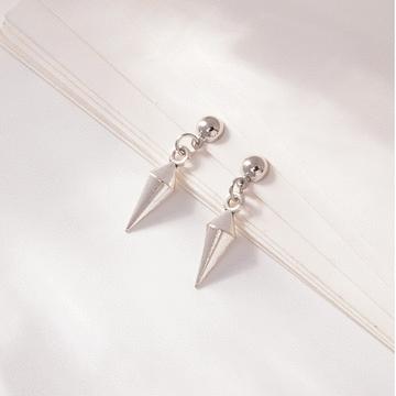 韓版低調極簡尖錐 耳針/無耳洞黏貼式耳環