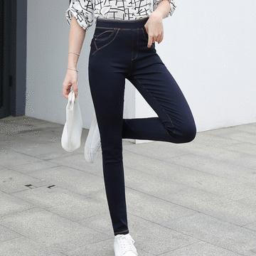 MIT台灣製-日常百搭彈性牛仔風長褲