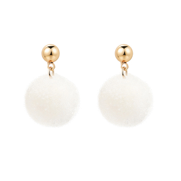 【2件折50元】時尚純色毛球黏式耳環
