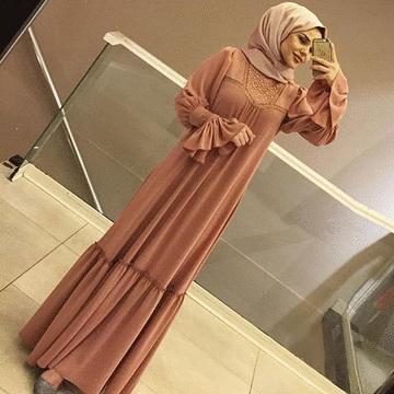 穆斯林飄逸優雅蕾絲荷葉袖連衣裙
