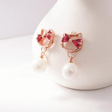 日系小貓珍珠鑲鑽 耳針/無耳洞黏貼式耳環