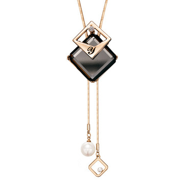 時尚幾何雙層方塊毛衣項鍊