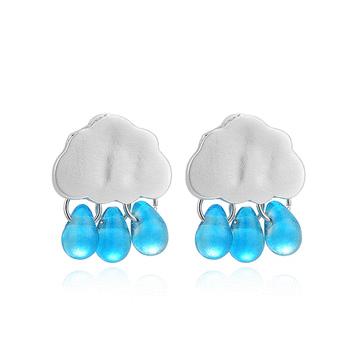 可愛清新雲朵雨滴 黏式耳環