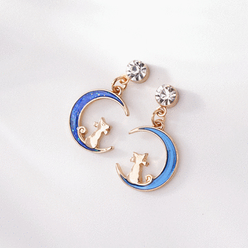 日系夢幻月亮小貓咪 無耳洞黏貼式耳環