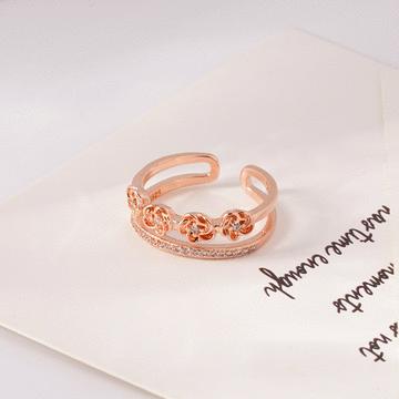 雙層玫瑰花鑲鑽開口戒指