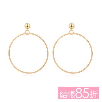 【結帳85折】經典簡約金屬圓環 無耳洞黏貼式耳環