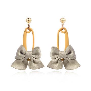 可愛馬卡龍色系蝴蝶結 耳針/黏式耳環