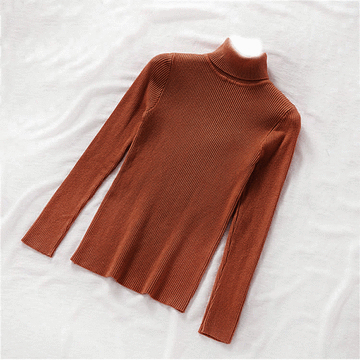 純色柔軟羅紋高領毛衣