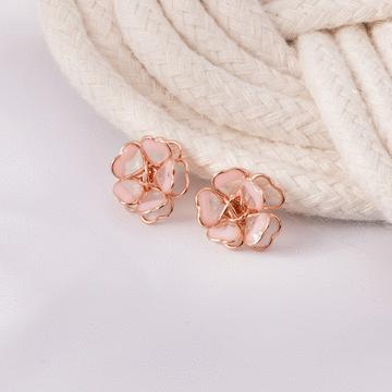 甜美立體雙層櫻花 無耳洞黏貼式耳環