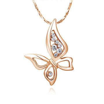 優雅銀白四翅蝴蝶微鑲鑽合金項鍊