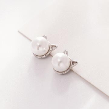 簡約原創小貓珍珠 耳針/無耳洞黏貼式耳環