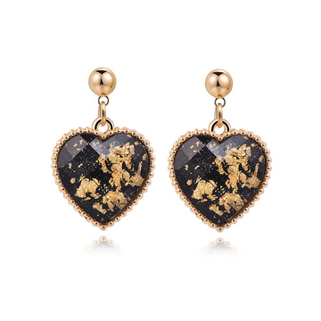 奢華愛心鑲金黏式耳環