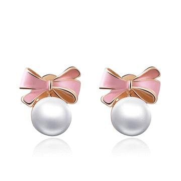 甜美可愛蝴蝶結珍珠 耳針/黏式耳環