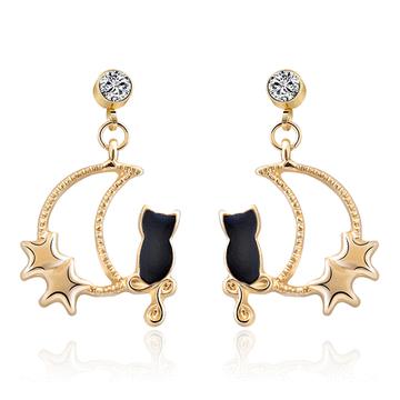 可愛星月黑貓 耳針/黏式耳環