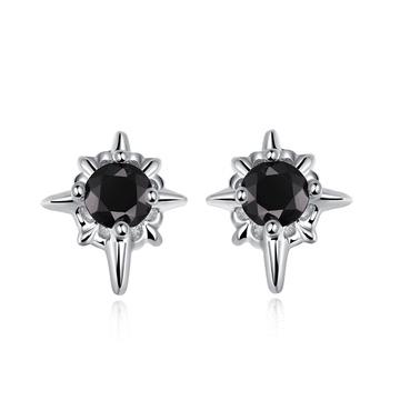 帥氣黑鑽十字星黏式耳環