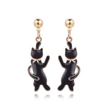 可愛緞帶黑色小貓 黏式耳環