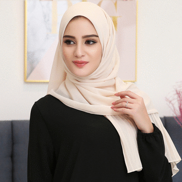 穆斯林雪紡時尚百褶邊長頭巾