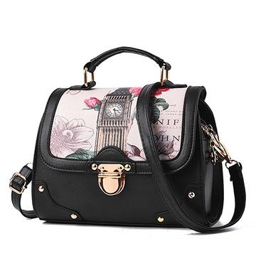 花漾英倫時尚印花手提側背包