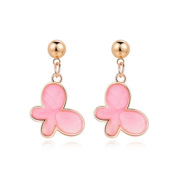 清新氣質粉嫩蝴蝶 黏式耳環